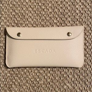 Escada cream leather clutch